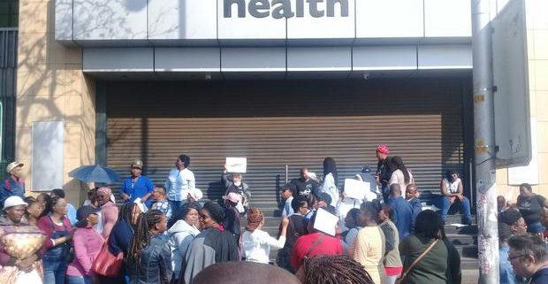 Workers shutdown Department of Health building